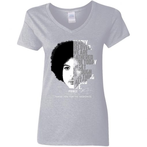 Private: Prince 1958-2016 Thank You For The Memories Women's V-Neck T-Shirt