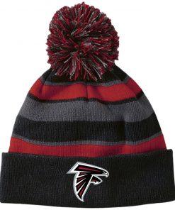 Private: Atlanta Falcons Striped Beanie with Pom