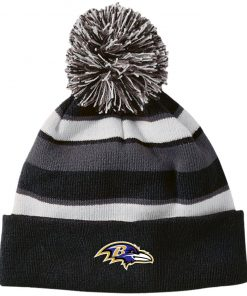 Private: Baltimore Ravens Striped Beanie with Pom