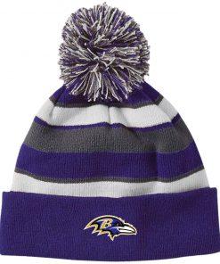Private: Baltimore Ravens Striped Beanie with Pom