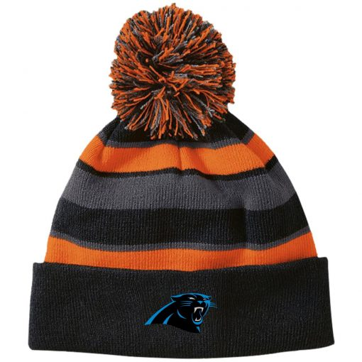 Private: Carolina Panthers Striped Beanie with Pom