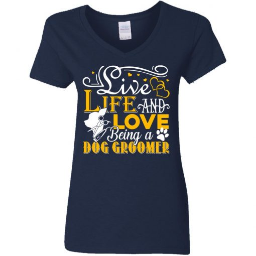 Private: Love Being A Dog Groomer Women's V-Neck T-Shirt