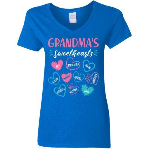 Private: Personalized Grandma's Sweethearts Women's V-Neck T-Shirt