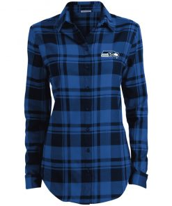 Private: Seattle Seahawks NFL Pro Line Gray Victory Ladies' Plaid Flannel Tunic