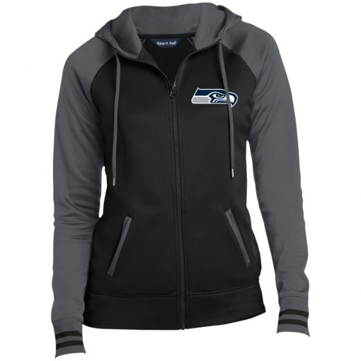 Private: Seattle Seahawks NFL Pro Line Gray Victory Ladies' Moisture Wick Full-Zip Hooded Jacket