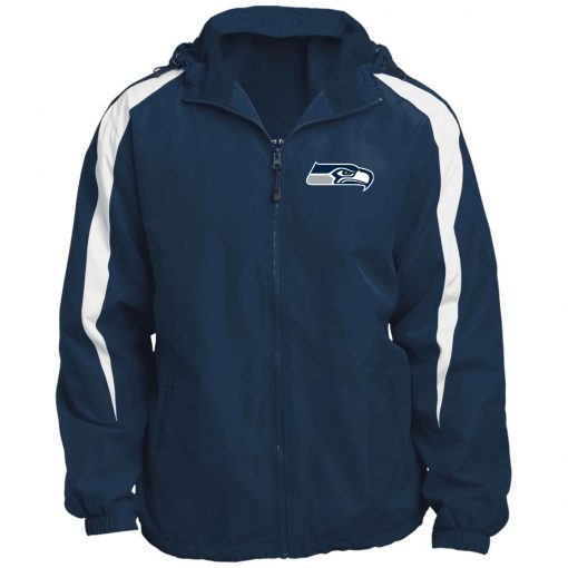 Private: Seattle Seahawks NFL Pro Line Gray Victory Fleece Lined Colorblocked Hooded Jacket