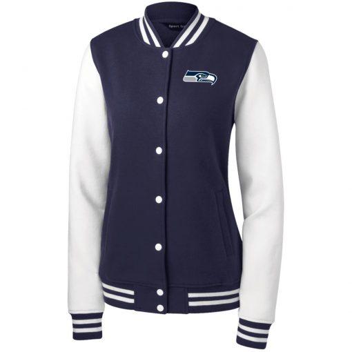 Private: Seattle Seahawks NFL Pro Line Gray Victory Women's Fleece Letterman Jacket