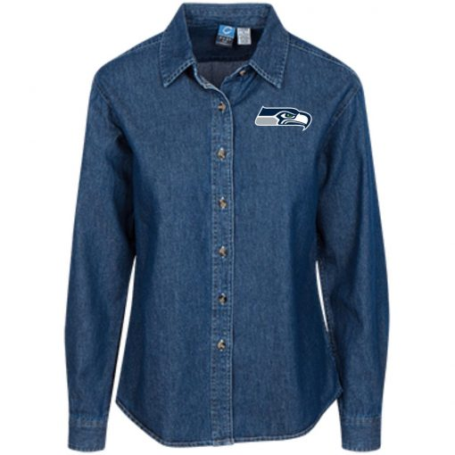 Private: Seattle Seahawks NFL Pro Line Gray Victory Women's LS Denim Shirt